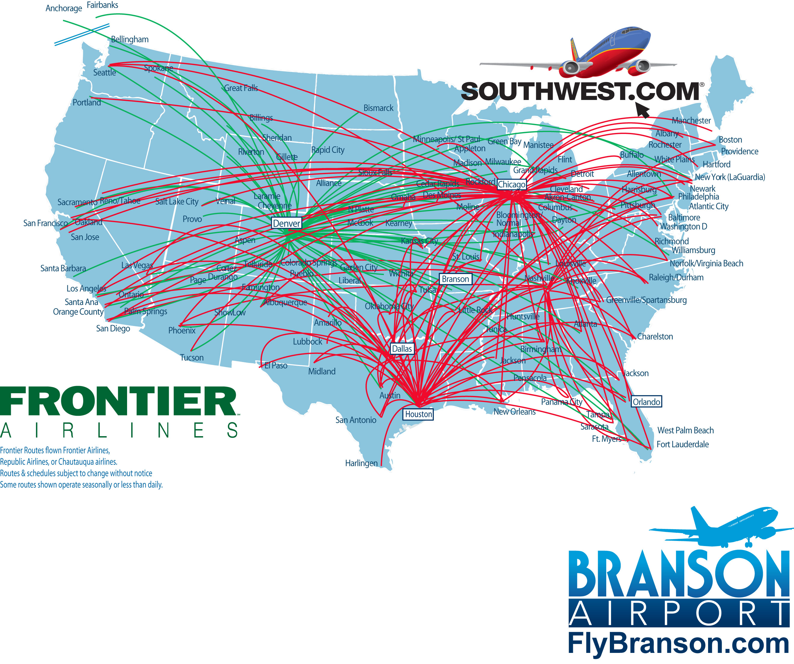 Branson Airport LLC Media – Southwest Airlines Travel Map