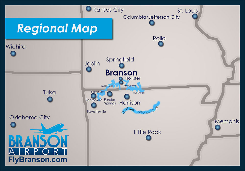 Regional Map Branson Airport - Branson tourist map